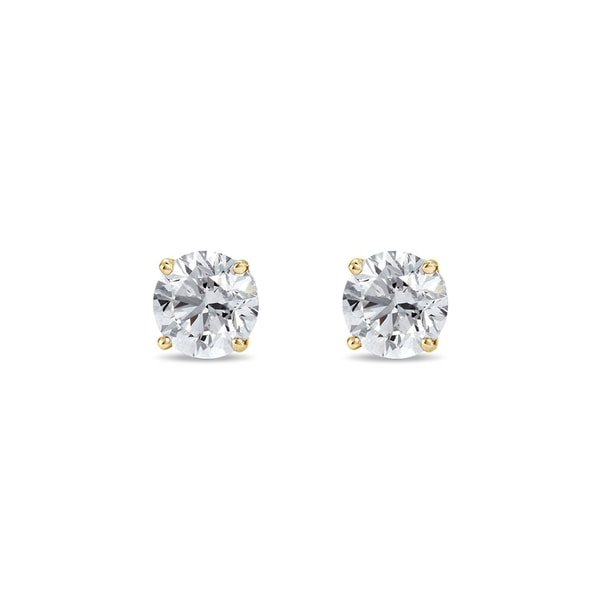 Diamond stones, yellow gold - Stud earrings