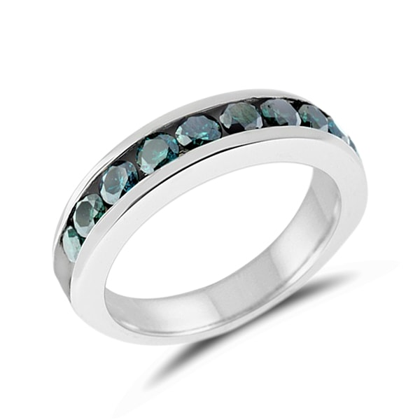 Wedding ring made of white gold with blue diamonds - Diamond rings