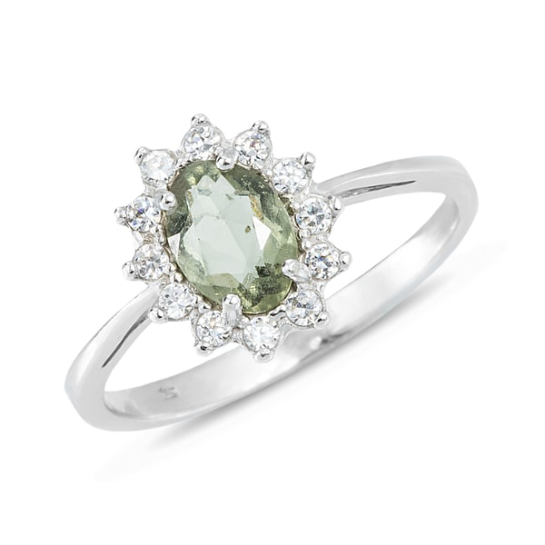Sterling silver ring with moldavite and CZ stones - Sterling Silver Rings