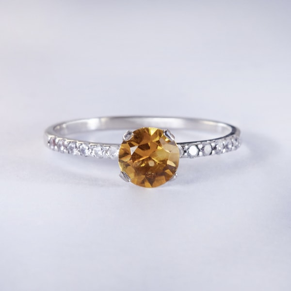 Sterling silver ring with citrine and CZ stones - Citrine rings