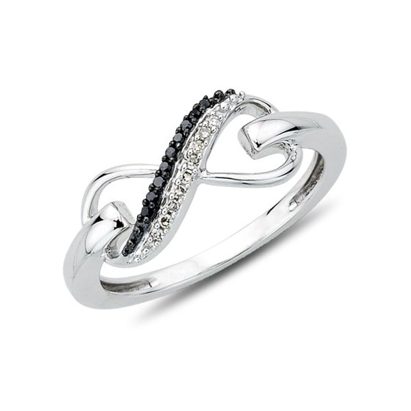 Sterling silver ring with black and white diamonds - Diamond rings