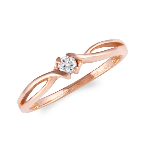 Ring made of pink gold with diamond - Diamond Rings