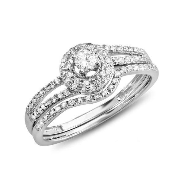 ENGAGEMENT AND WEDDING RINGS WITH DIAMONDS IN WHITE GOLD - WHITE GOLD RINGS - RINGS