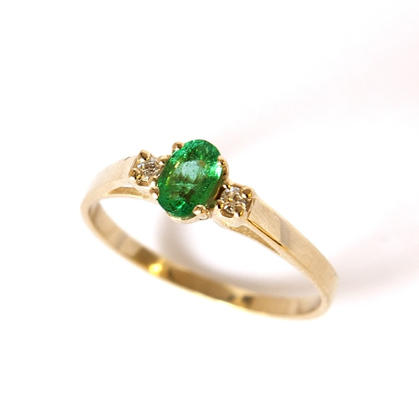 Emerald ring with diamonds - Emerald Rings