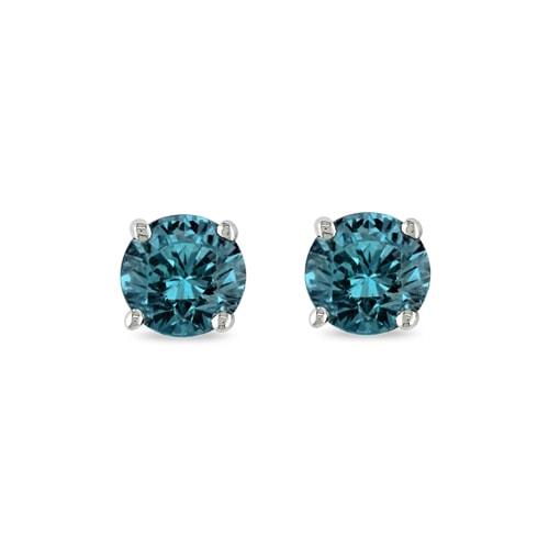 Blue diamond stud earrings - Stud Earrings
