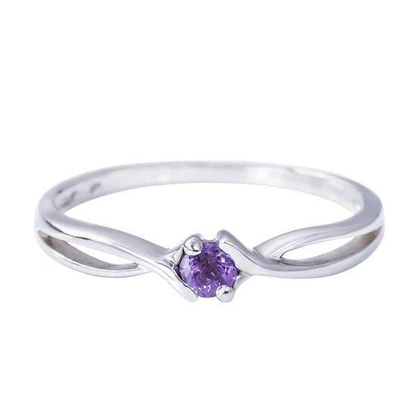 STERLING SILVER RING WITH AMETHYST - AMETHYST RINGS - RINGS