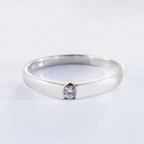 FINE WEDDING RING WITH DIAMONDS - WHITE GOLD RINGS - RINGS