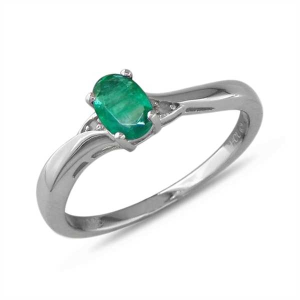STERLING SILVER RING WITH EMERALD AND DIAMONDS - EMERALD RINGS - RINGS