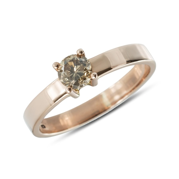 Rose gold ring with champagne diamond - Diamond Rings