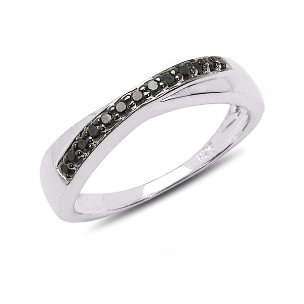Sterling silver ring black diamonds - Sterling silver rings