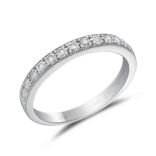 Wedding ring with diamonds in white gold - Diamond rings
