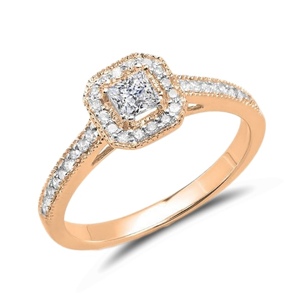 Rose gold diamond HALO engagement ring - Rose gold rings