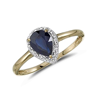 Gold ring with sapphire - Sapphire rings