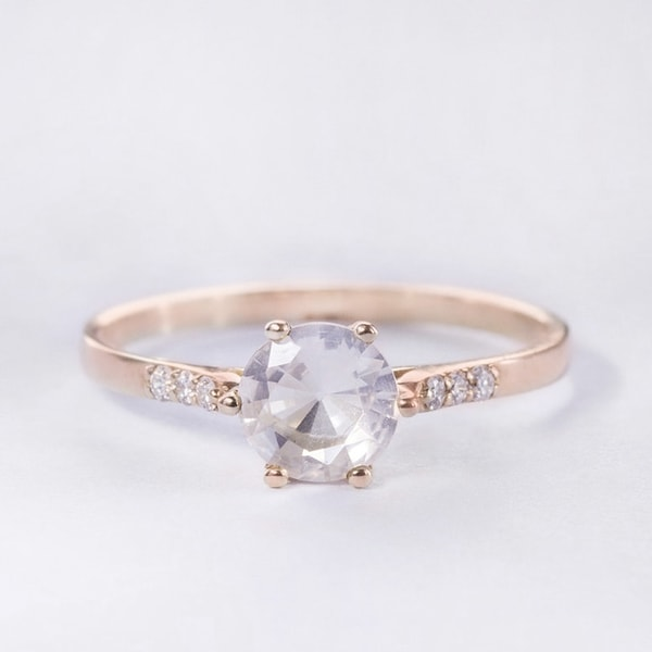 ROSE GOLD RING WITH ROSARIES AND ZIRCONS - ROSE GOLD RINGS - RINGS