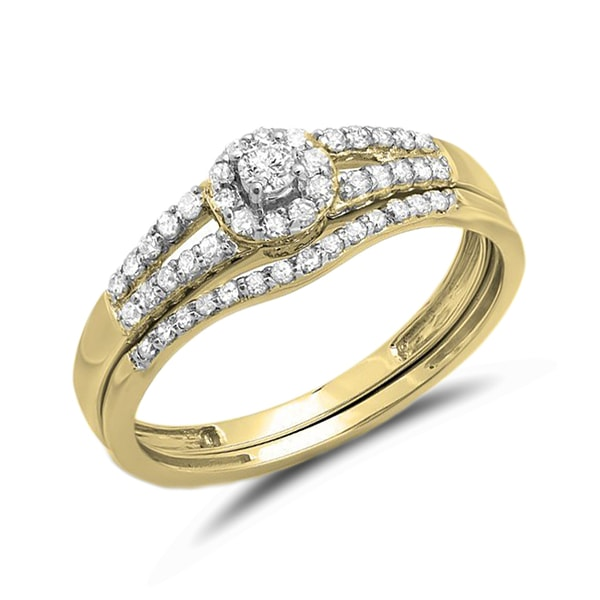 Set of engagement and wedding ring with diamonds - Gold rings