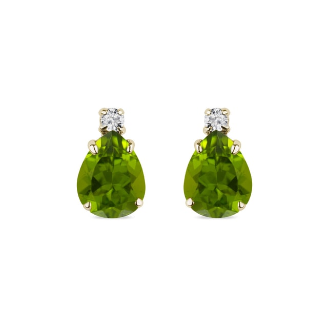 OLIVINE EARRINGS WITH DIAMONDS IN YELLOW GOLD - PERIDOT EARRINGS - EARRINGS