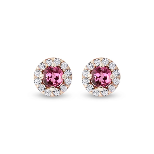 TOURMALINE EARRINGS WITH DIAMONDS - TOURMALINE EARRINGS - EARRINGS