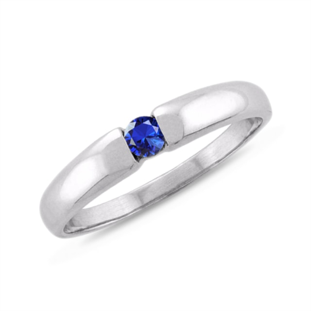 SAPPHIRE 14KT GOLD RING - WHITE GOLD RINGS - RINGS