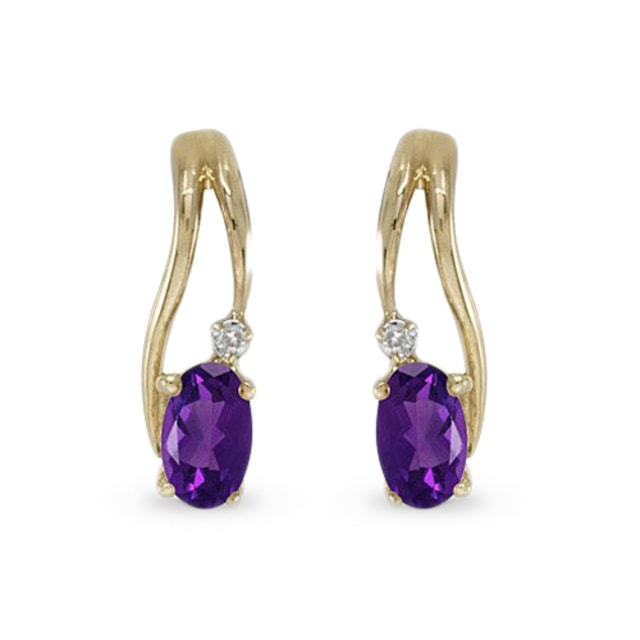 AMETHYST AND DIAMOND EARRINGS IN 14KT SOLID GOLD - YELLOW GOLD EARRINGS - EARRINGS