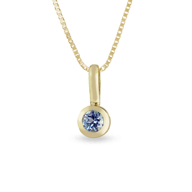 BABY BLUE TOPAZ PENDANT IN 14KT GOLD - GEMSTONE PENDANTS - PENDANTS