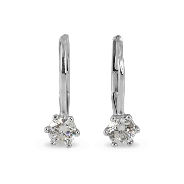 CZ EARRINGS IN 14KT WHITE GOLD - CZ STONE EARRINGS - EARRINGS