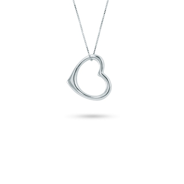 Heart necklace in white gold