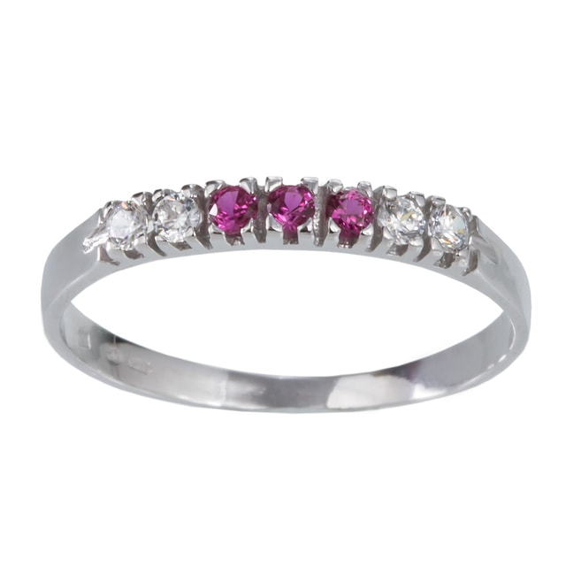 RUBY AND CZ 14KT GOLD RING - RUBY RINGS - RINGS