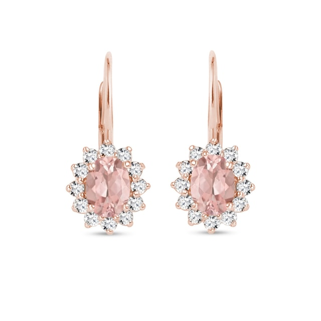 EARRINGS WITH DIAMONDS AND MORGANITE - ROSE GOLD EARRINGS - EARRINGS