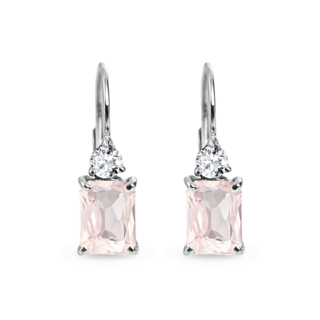 Morganite and diamond earrings in white gold