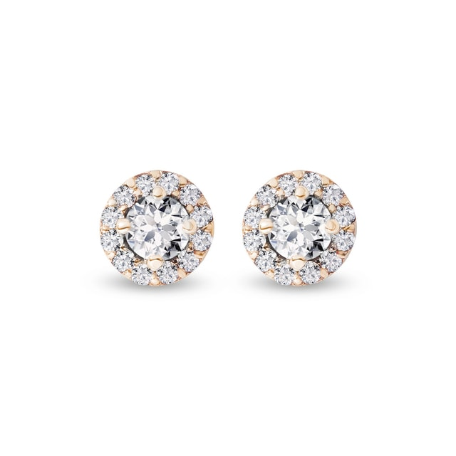 Diamond earrings in yellow gold