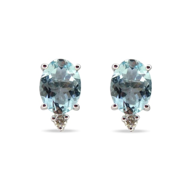AQUAMARINE AND DIAMOND EARRINGS IN 14KT WHITE GOLD - WHITE GOLD EARRINGS - EARRINGS
