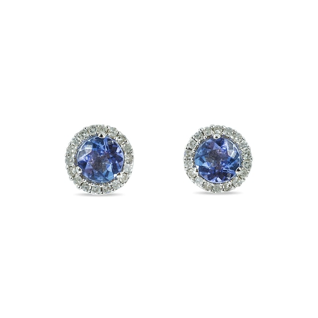 TANZANITE AND DIAMOND EARRINGS IN 14KT WHITE GOLD - WHITE GOLD EARRINGS - EARRINGS