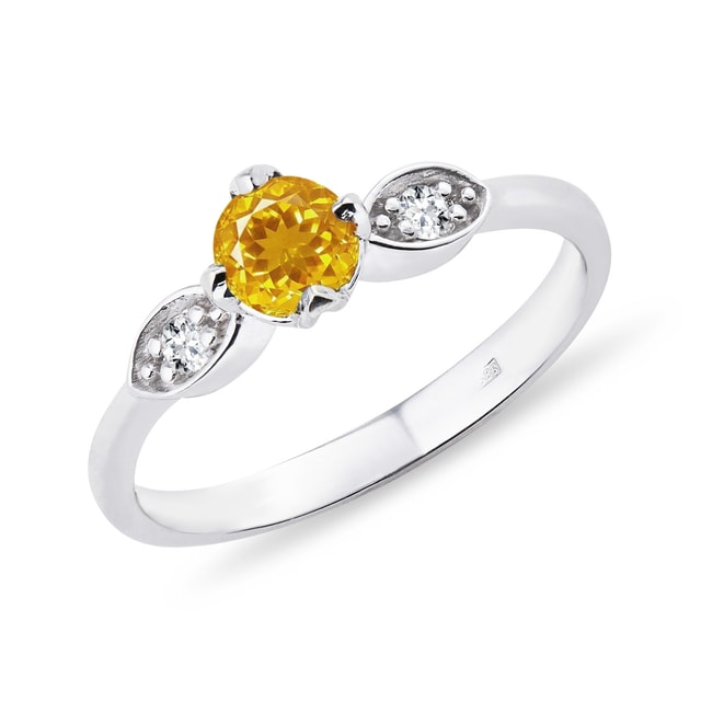 Silver citrine ring with diamonds