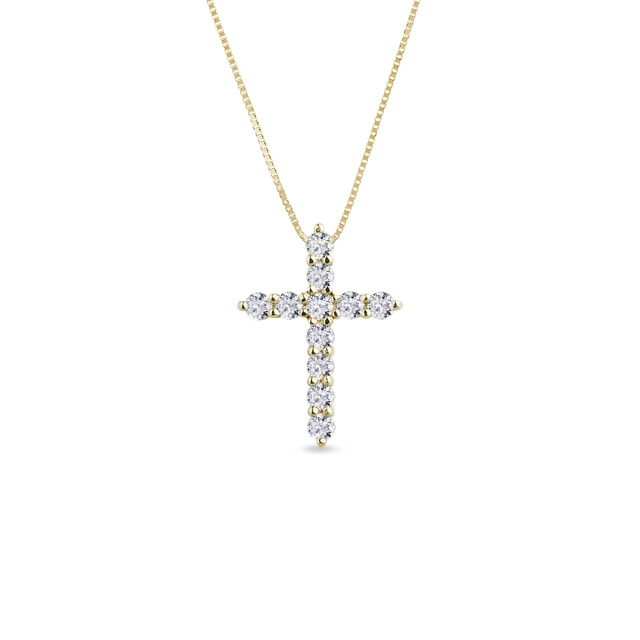 Diamond studded cross necklace in yellow gold