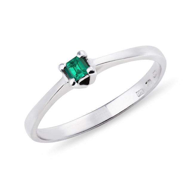 WHITE GOLD RING WITH EMERALD - EMERALD RINGS - RINGS