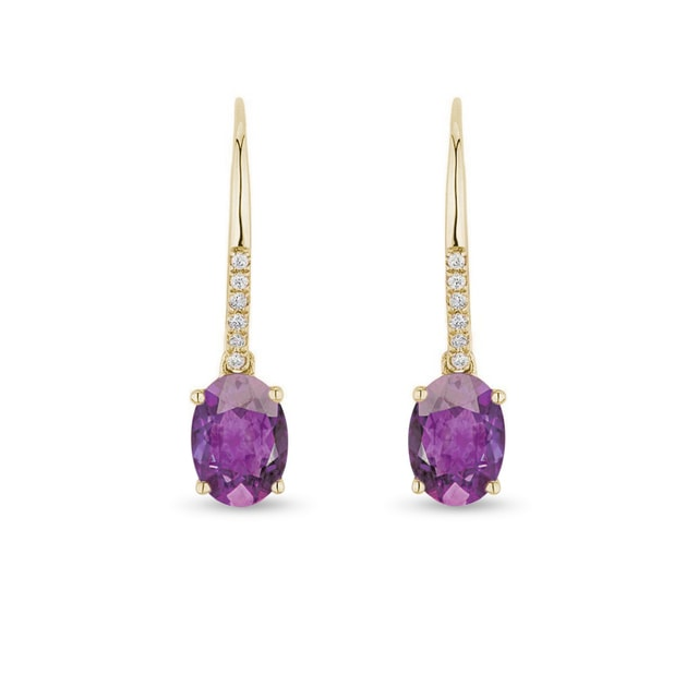 Yellow gold earrings with amethysts and diamonds