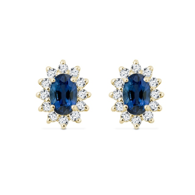GOLD EARRINGS WITH DIAMONDS AND SAPPHIRES - SAPPHIRE EARRINGS - EARRINGS