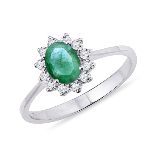EMERALD RING WITH DIAMONDS IN WHITE GOLD - WHITE GOLD RINGS - RINGS