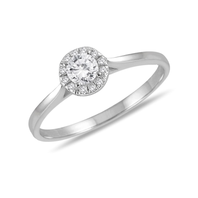 DIAMOND 14KT GOLD ENGAGEMENT RING - WHITE GOLD RINGS - RINGS