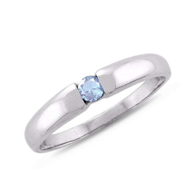 AQUAMARINE 14KT GOLD RING - WHITE GOLD RINGS - RINGS