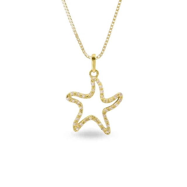 DIAMOND STARFISH PENDANT IN 14KT GOLD - DIAMOND PENDANTS - PENDANTS
