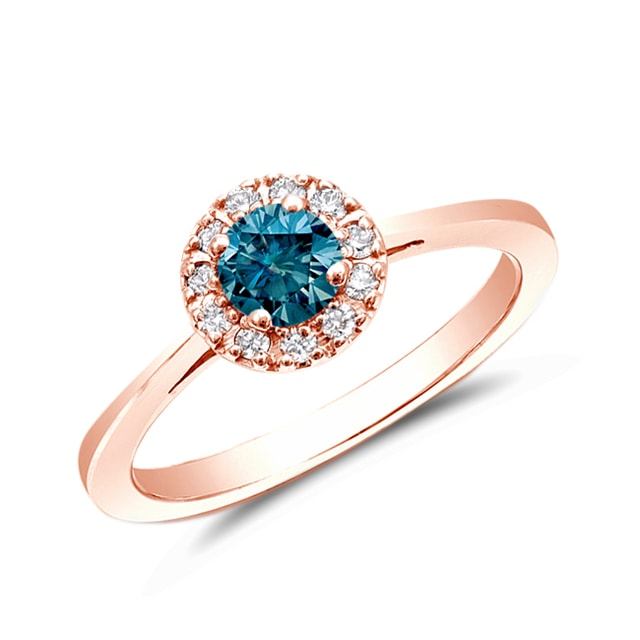 DIAMOND RING IN 14KT ROSE GOLD - FANCY DIAMOND ENGAGEMENT RINGS - ENGAGEMENT RINGS