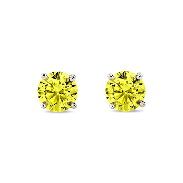 YELLOW DIAMOND EARRINGS IN 14KT GOLD - STUD EARRINGS - EARRINGS
