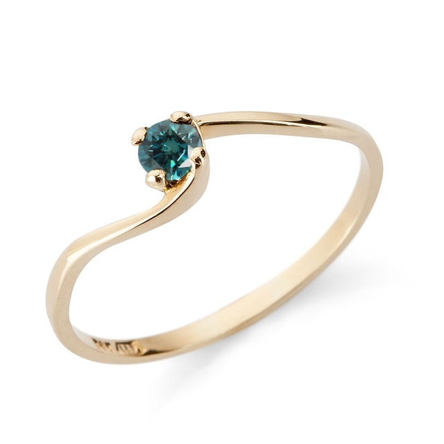 BLUE DIAMOND ENGAGEMENT RING IN 14KT GOLD - DIAMOND RINGS - RINGS