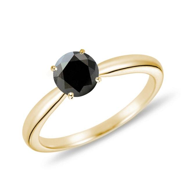 bague en or jaune avec diamant noir klenota bijoux avec. Black Bedroom Furniture Sets. Home Design Ideas