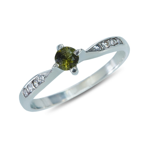 MOLDAVITE AND CZ RING IN STERLING SILVER - STERLING SILVER RINGS - RINGS