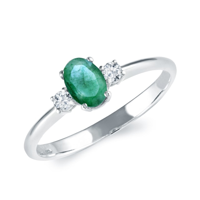 EMERALD AND DIAMOND RING IN 14KT WHITE GOLD - EMERALD RINGS - RINGS