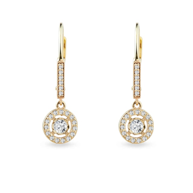 DIAMOND EARRINGS IN 14KT GOLD - YELLOW GOLD EARRINGS - EARRINGS