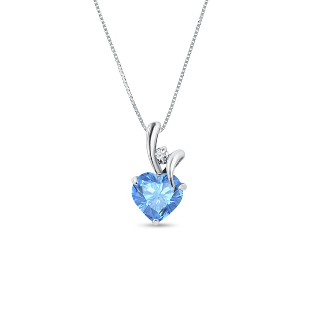 Topaz and diamond heart pendant