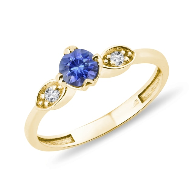 GOLD SAPPHIRE RING WITH DIAMONDS - SAPPHIRE RINGS - RINGS